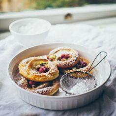 Croissant dough, Tahini paste, Rose creme patisserie, White peach, Raspberries and Pistachios