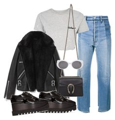 """""""Sin título #3102"""" by camilae97 ❤ liked on Polyvore featuring Vetements, Topshop, AllSaints, Gucci, STELLA McCARTNEY and Yves Saint Laurent"""