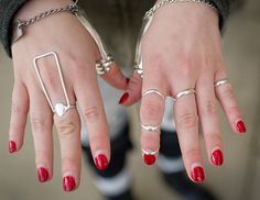 Kayla Furbish shows off her silver ring splints which stabilizes her hand and helps her to write and type easier - beautiful and useful! Trigger Finger Treatment, Cidp, Hypermobility, Ankylosing Spondylitis, Arthritis Hands, Degenerative Disc Disease, Chronic Pain, Chronic Illness, Fibromyalgia