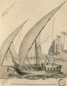 Sailboat of Nubia, Egypt, engraving from Cartes et figures du Voyage en Nubie et en Abyssinie, James Bruce, 1792 in Paris. 18th century.
