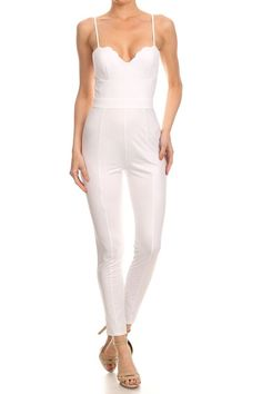 White Solid, Sleeveless Jumpsuit in a Bodycon Style with Spaghetti Straps