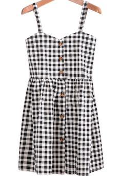 To find out about the Black White Plaid Spaghetti Strap Buttons Dress at SHEIN, part of our latest Dresses ready to shop online today! Cute Dress Outfits, Cute Casual Dresses, Sexy Dresses, Trendy Outfits, Short Dresses, Fashion Outfits, Summer Dresses, Rompers Dressy, Wardrobe Makeover