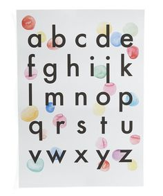 A lower case alphabet for all the colour enthusiasts out there, this Wonder and Rah print is the perfect addition to any nursery, children's room or playroom.