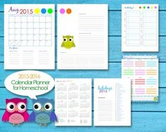 2015-2016 Homeschool Teacher Planner Calendar Editable PDF Printables - Owls from Split Decisionz on TeachersNotebook.com -  (35 pages)  - A set of calendar printables for homeschool lesson planning.
