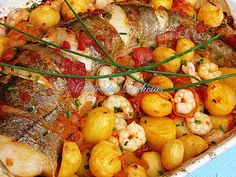 Pescada no forno com Camarões e Mercado de Natal 2011 | o sítio das delícias