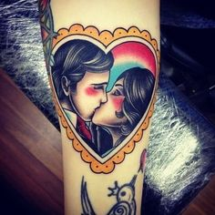 kiss, ink, tattoo, oldschool, lovers
