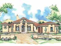 Home Plans HOMEPW09231 - 3,790 Square Feet, 4 Bedroom 3 Bathroom Mediterranean Home with 3 Garage Bays