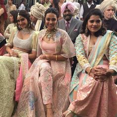 Bridesmaids , and looking absolutely stunning wearing these gorgeous pastel shades lehengas for… Indian Attire, Indian Wear, Indian Dresses, Indian Outfits, Veere Di Wedding, Indie Mode, Party Kleidung, Indian Look, Desi Wear