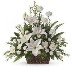 diy floral funeral basket | White Lilies Bouquet Funeral funeral flowers memorial decrations ...