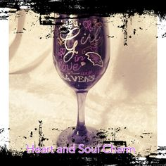 Wine glass, hand painted. Ravens