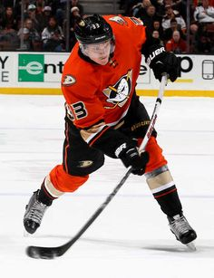 Jakob Silfverberg #33 of the Anaheim Ducks takes a slap shot during the game against the Los Angeles Kings