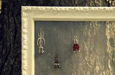 Diy earing holder. I made some of these with antique frames. They look really nice.