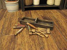 Dollhouse Miniature Spools Thread Bobbins Handled Box Tray