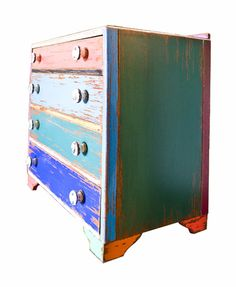 Upcycled Painted Wood Chest of Drawers : The Old Cinema – Antique Furniture, Vintage, Industrial, Danish, French
