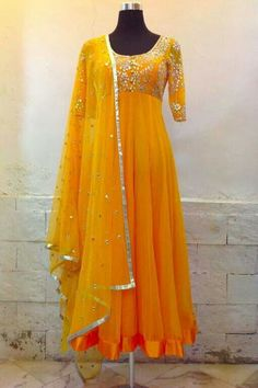 Ombre color gorgegette anarkali with self tilla wrk on the bodice n sleeves