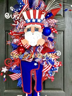 Memorial Day wreath, Fourth of July wreath, Uncle Sam wreath, patriotic wreath, American deco mesh Fourth Of July, Patriotic Wreath, 4th Of July Wreath, Memorial Day Wreaths, Summer Deco, 4th Of July Decorations, Easter Wreaths, Deco Mesh Wreaths