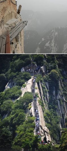 Huashan Cliffside Path (China) - It is part of the Qin Ling Mountain Range that divides not only northern and southern Shaanxi, but also China. -  http://www.oddee.com/item_97949.aspx#Qpl8z6kLIZ6mlWJl.99