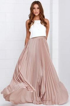 Back in a Minute Beige Maxi Skirt