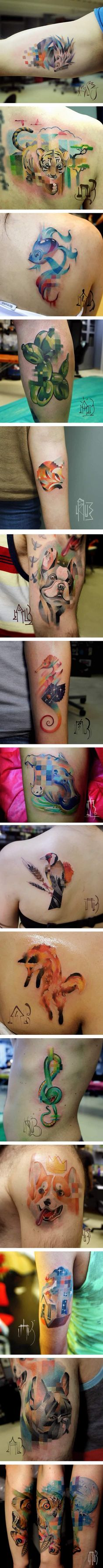BrushStroke Tattoos Brush Stroke Tattoo Tattoo And Brush Tattoo - Artist creates amazing animal tattoos with digital pixel glitches