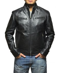 b155a3e4410a Black Leather Jacket Vin Diesel Jacket Feature Outfit type  Genuine Leather  Jacket Gender  Male Color  Black Front  Front Zip Closure Collar  Stand Up  ...