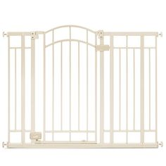 "Summer Infant Multi-Use Deco Extra Tall Walk-Thru Gate, Beige by Summer Infant    1,255 customer reviews  Style: Beige $79.99  Bronze $56.38  Pressure mounted installation for use between rooms Optional hardware mounts included for installation on stairways 36"" tall gate fits openings 28-48"" wide Dual locking, auto-close walk through"