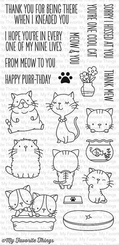 """MFT STAMPS: Cool Cat (4"""" x 8.5"""" Clear Photopolymer Stamp Set) This package includes Cool Cat, a 20 piece set and includes: Cats (7) ranging from 1"""" x 3/4"""" to 1 3/4"""" x 1 1/2"""", Bed 1 3/4"""" x 5/8"""", Bowl 5"""