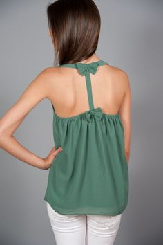 Row of Bows Tank-Green