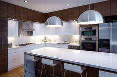 braun weiß küche umgestaltung modern einrichtung metallisch