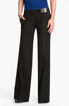 MICHAEL Michael Kors Leather Trim Wide Leg Pants available at #Nordstrom