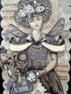 Art Tag, Handmade Paper Doll, Fairy, Articulated, Mixed Media, Keepsake, Greeting, Marcel Proust