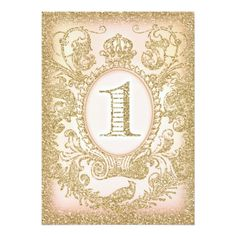 Glitter Birthday Party Invitations First Birthday Once Upon a Time Princess Card