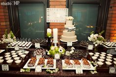 "The Citizen Hotel Sacramento, Ca Wedding ""Bendel Botanical"" Dessert display with brown & white striped accents."