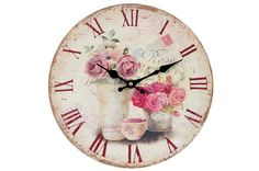 Vintage Style Shabby Chic MDF Pink Rose Scene Scene Wall Clock with Decorative Hands. This hugely popular clock is a beautiful addition to any wall in your home. Shabby Chic Prints, Shabby Chic Clock, Shabby Chic Art, Wall Clock Painting, Rose Clock, Pink Clocks, Pendulum Wall Clock, Wall Clocks, Wall Clock Online