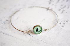 Mint Green Bird on Branch Bangle, shabby chic, romantic, bohemian dainty bracelet on Etsy, $13.90