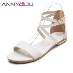 b105ddd6a398 ANNYMOLI Shoes Women Sandals Orignal Leather Shoes Summer Flats Sandals  Ankle Cross Strap Sandals Large Size