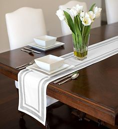 Contemporary White and Navy Blue Modern Stripe Hotel Collection Table Runner 12 x 72 -- You can find out more details at the link of the image. Coffee Table Runner, Table Runners, White Placemats, Striped Table Runner, Bed Table, Dining Table, Lace Table, Space Saving Furniture, Table Linens