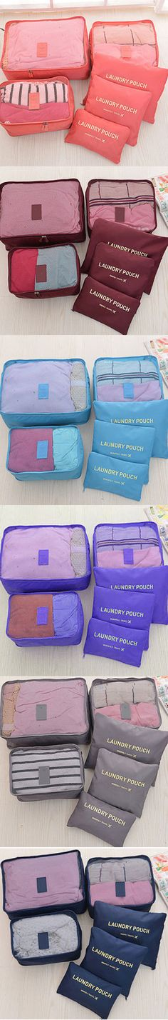 US$9.9 10 Color 6Pcs Waterproof Travel Packing Bags Luggage Organizer Trip Journey Storage Container