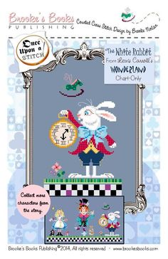 Brooke's Books ... by Brooke Nolan | Embroidery Pattern - Looking for your next project? You're going to love Brooke's Books Wonderland White Rabbit by designer Brooke Nolan. - via @Craftsy  $5