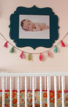 Girls Tassel Garland Fabric Banner Photo Prop Pennants Flags Baby Girls Room Nursery Decor Pink Mint Birthday M2M Matilda Jane Persnickety on Etsy, $16.00