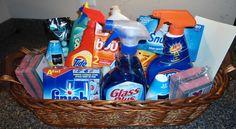 Cleaning Supply Housewarming Gift Basket - make it green! Housewarming Gift Baskets, Diy Gift Baskets, College Gift Baskets, Creative Gift Baskets, Themed Gift Baskets, Raffle Baskets, Fundraiser Baskets, Diy Cleaning Products, Cleaning Supplies