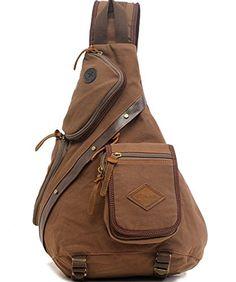Zerlar Mens Chest Pack Crossbody Bag Vintage Canvas Shoulder Sling Bag Rucksack -- For more information, visit image link.