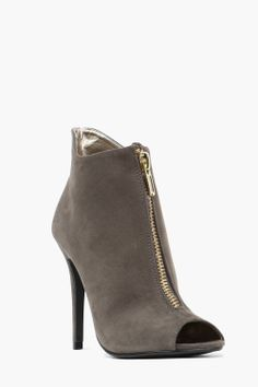 Suede Zip Bootie...perhaps a husky bold deep chocolate color...Hmmm yes