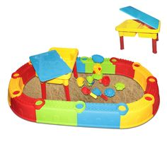 (SW-LA) deAO® Toddler Kids Children Sand and Water Table with Play Barrier and Assorted Accessories: Amazon.co.uk: Toys & Games