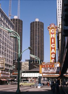 The Chicago Theatre during less savory times in the 1970's