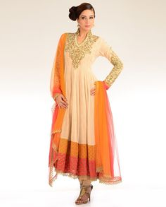 Cream Beige Kalidar Suit with Embroidered Yoke - Exclusively In