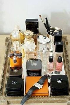 Chanel sell some lovely products. When experiencing a style revamp I discovered Chanel There was something about it that made me feel more feminine and womanly. Makeup Storage, Makeup Organization, Makeup Tray, Bedroom Organisation, Perfume Organization, Makeup Display, Makeup Drawer, Chanel Decoration, Just Girly Things