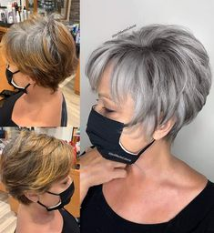 Short Hair With Layers, Short Hair Cuts For Women, Short Hairstyles For Women, Short Hair Styles, Short Grey Haircuts, Short Stacked Hair, Grey Hair Styles For Women, Short Choppy Hair, Grey Hair Transformation