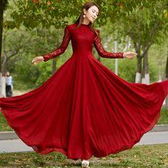 New 2016 Spring Autumn Elegant Vintage Lace Chiffon Long Dress Slim Long Sleeve Wine Red Party Maxi Dresses Vestidos D036