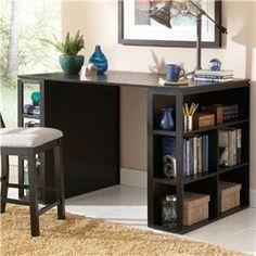 "Bradford  Contemporary Writing Desk with Side Shelf Storage by Steve Silver at  Walker's Furniture 205 N. Morain St. Kennewick, WA 99336 (509) 374-9773 56""W x 36""H x 36""D"