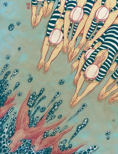 Into the Water (its summer!) by Yuko Shimizu, via Behance - I so admire this NY artist! Thanks to BEHANCE for creating a platform that enables me to connect with artists like Shimizu. Art And Illustration, Editorial Illustration, Illustrations Posters, American Illustration, Japanese Illustration, Yuko Shimizu, Art Japonais, Grafik Design, Art Design